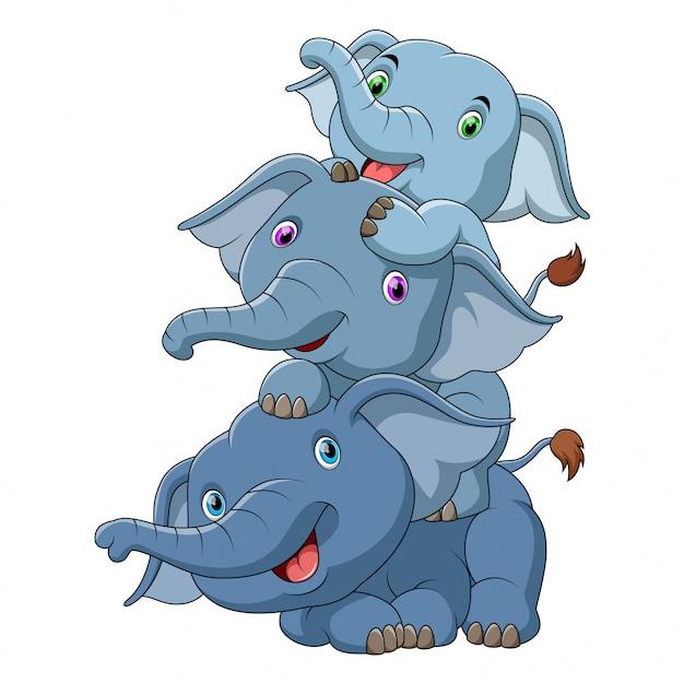 3つのかわいい赤ちゃん象 Premiumベクター
