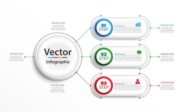 インフォグラフィックベクトルデザインテンプレート3ステップ Premiumベクター