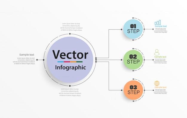 3つのステップを持つ円形のインフォグラフィック番号オプションテンプレート Premiumベクター