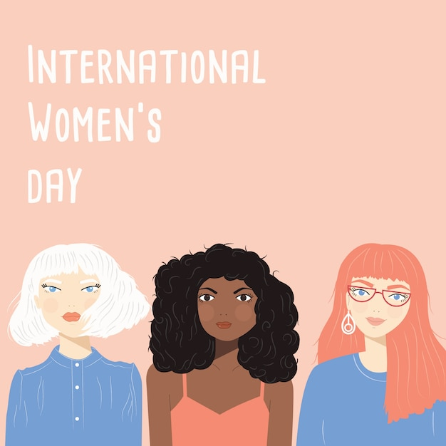 3人の多様な女性の肖像画を含む国際女性の日のサイン Premiumベクター