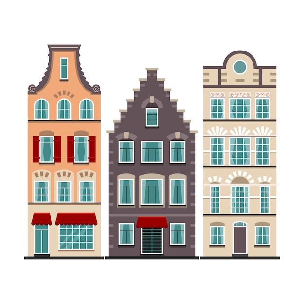3アムステルダムの古い家屋漫画ファサードのセット Premiumベクター