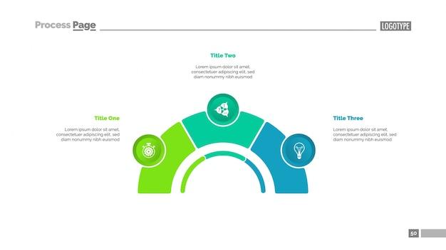 3つの要素をスライドさせたプロセスチャート 無料ベクター