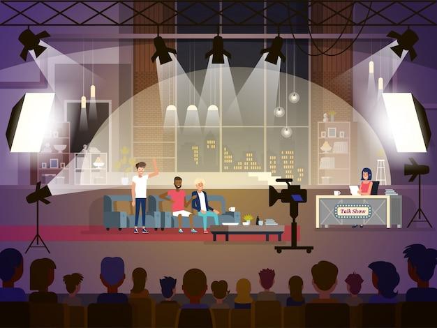 3人の参加者と女性記者とのトークショーのコンセプト Premiumベクター