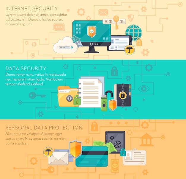 Онлайн защита данных 3 плоских баннера Бесплатные векторы
