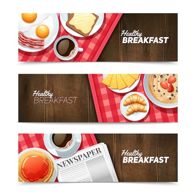 健康的な朝食3水平方向のバナー、ブラックコーヒーと目玉焼き 無料ベクター