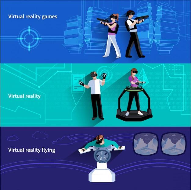 Виртуальная реальность искусственный мир 3 плоских горизонтальных баннера с военными играми и летающей абстра Бесплатные векторы