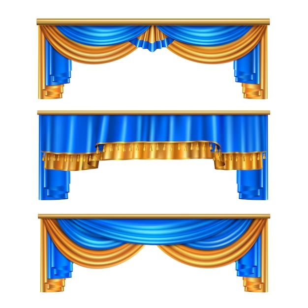 Полный объем золотые синие роскошные драпировки шторы набор 3 реалистичные идеи украшения окна дома изолированных иллюстрация Бесплатные векторы