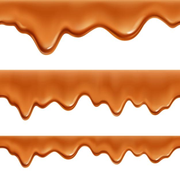 Плавленая карамельная ириска, сладкое покрытие, колбаса 3 реалистичные аппетитные декоративные рамки бесшовные модели набор изолированных Бесплатные векторы