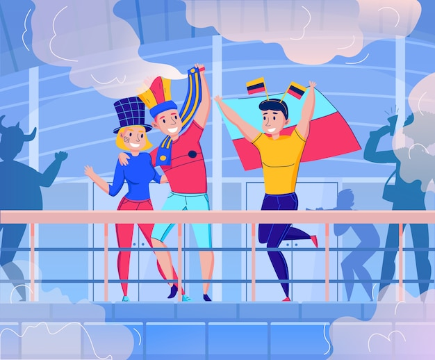 ダンスと楽しい3人の図を持つチーム構成を応援するフラットファン 無料ベクター