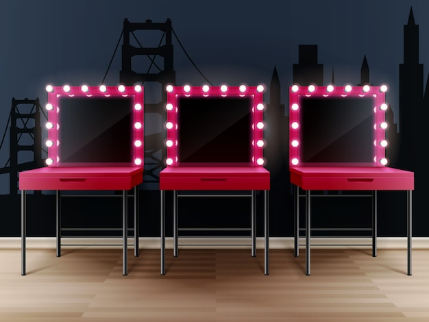 テーブルと3つのピンクの化粧鏡 無料ベクター