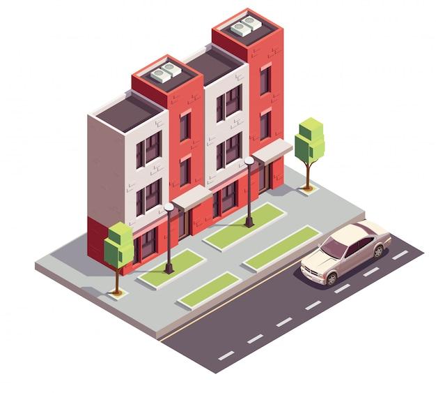 都市通り高速道路歩道と3階建ての住宅のビューとタウンハウス建物等尺性組成物 無料ベクター