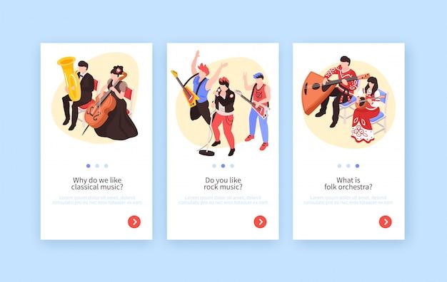 Музыканты 3 изометрических вертикальных баннера с классической музыкой в исполнении рок-группы и народного оркестра Бесплатные векторы