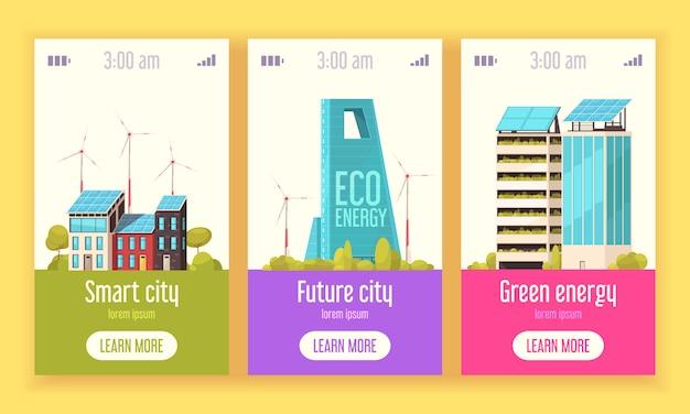 Умный город 3 плоских вертикальных веб-баннера с системами зеленой энергии ветра и солнечной энергии Бесплатные векторы