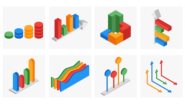 ビジネスインフォグラフィックの3次元等尺性セット。 Premiumベクター