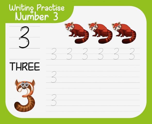 書く練習ナンバー3 無料ベクター