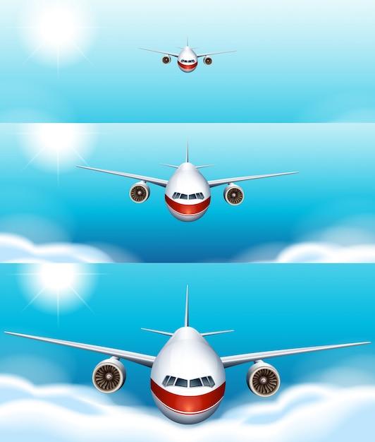 空を飛んでいる飛行機の3つのシーンの背景 無料ベクター