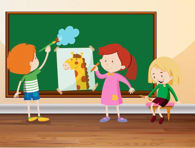 3人の学生が黒板に描く 無料ベクター