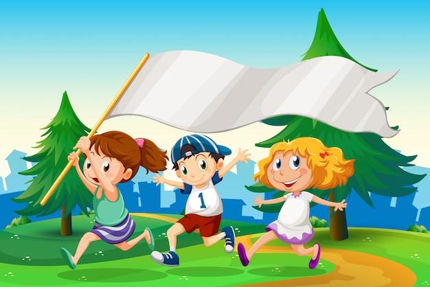 空の旗のバナーを実行している3人の子供 無料ベクター