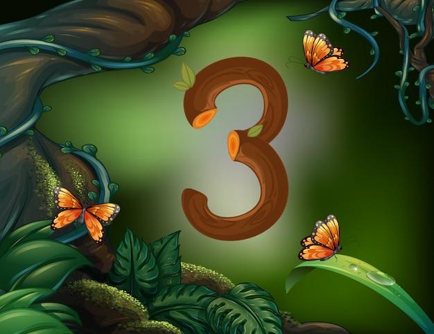 庭で蝶と数3 Premiumベクター