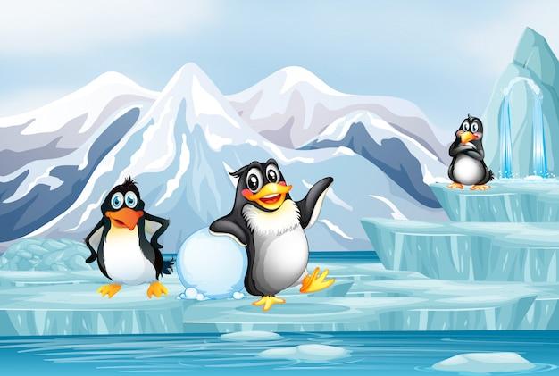 氷の上の3つのペンギンのシーン 無料ベクター