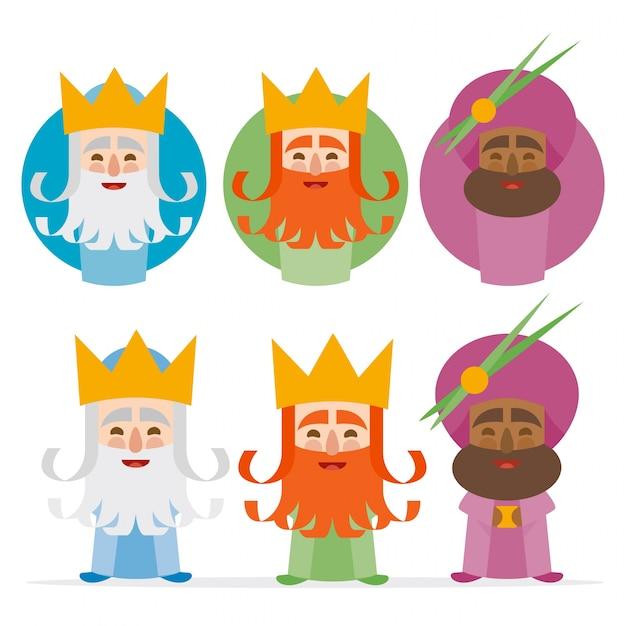 白い背景の3つの王のオリエンテーション Premiumベクター