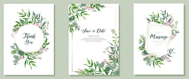 3つの結婚式のカード、水彩画の緑とゴールデンフレームのセット Premiumベクター