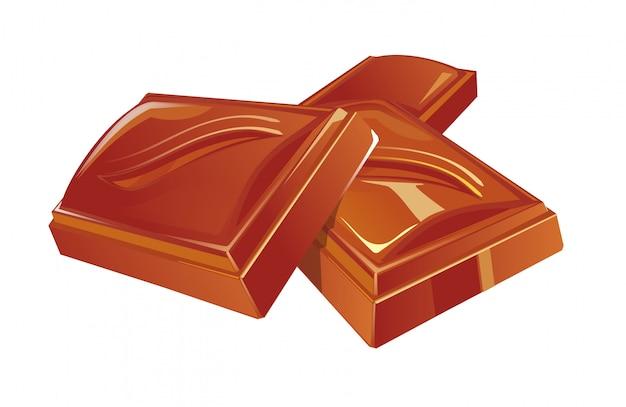 チョコレート3個。フラットカラーイラスト Premiumベクター