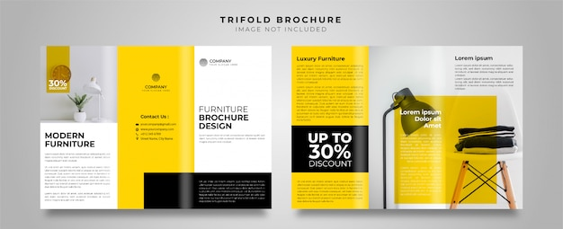 家具黄色3つ折りパンフレット Premiumベクター