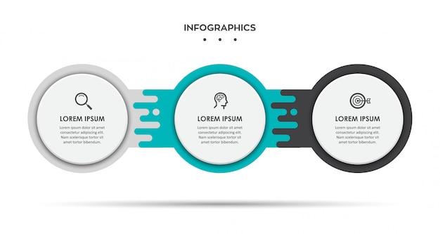 アイコンと3つのオプションまたは手順のインフォグラフィックラベルデザインテンプレート。 Premiumベクター