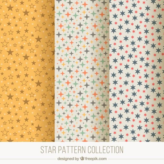 星と3装飾的なパターンのセット 無料ベクター