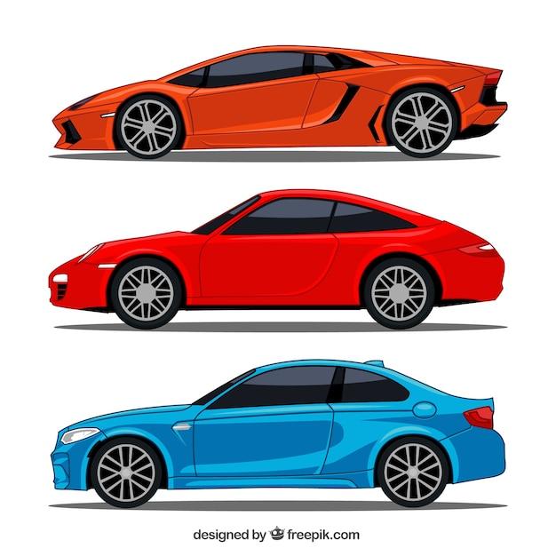 3スポーツカーのフラットコレクション 無料ベクター