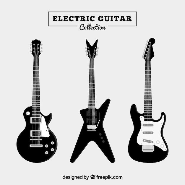 3つのブラックエレクトリックギターのセット 無料ベクター