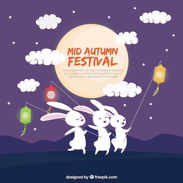 中秋節、3匹のウサギ、ランタン 無料ベクター