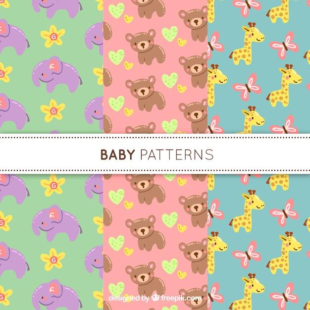 3つのかわいい赤ちゃんパターンのコレクション 無料ベクター