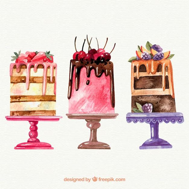 3つの水彩ケーキのコレクション 無料ベクター