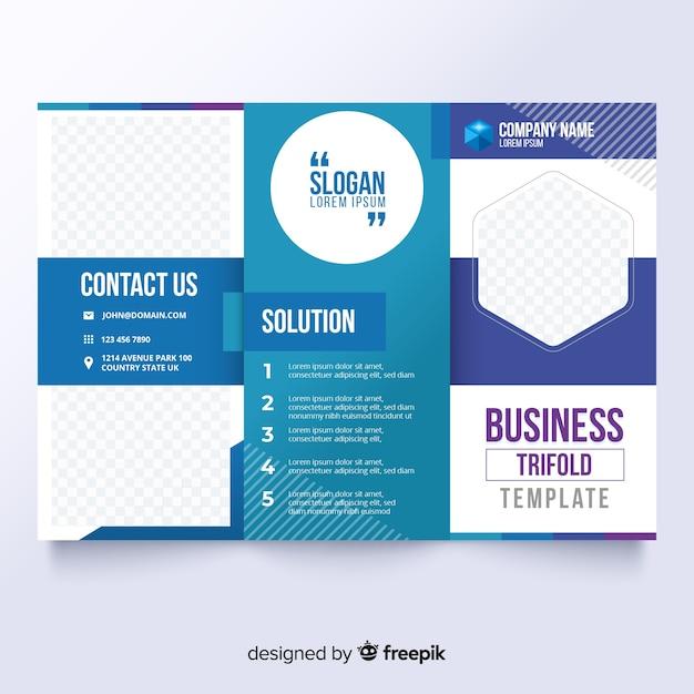 ビジネス3つ折りパンフレット 無料ベクター