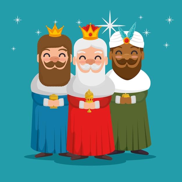 オリエンテーションの漫画の3つの魔法の王 Premiumベクター