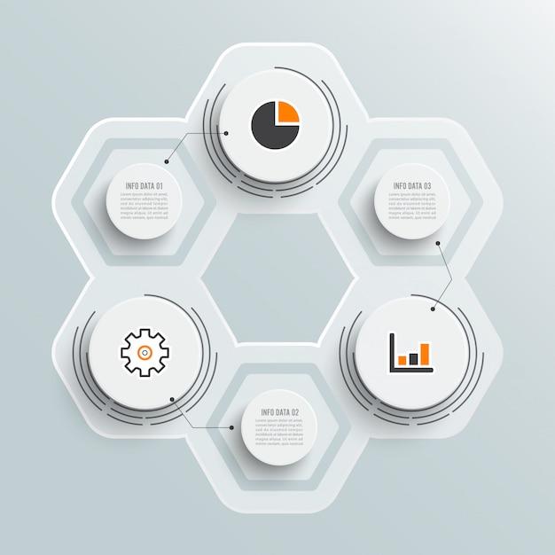 Иллюстрация инфографика 3 варианта Premium векторы