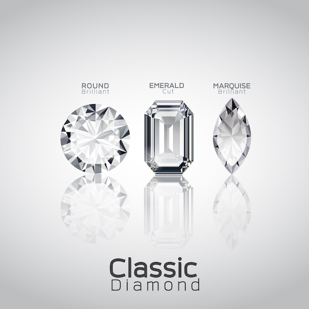 3つのダイヤモンドカットベクトル Premiumベクター