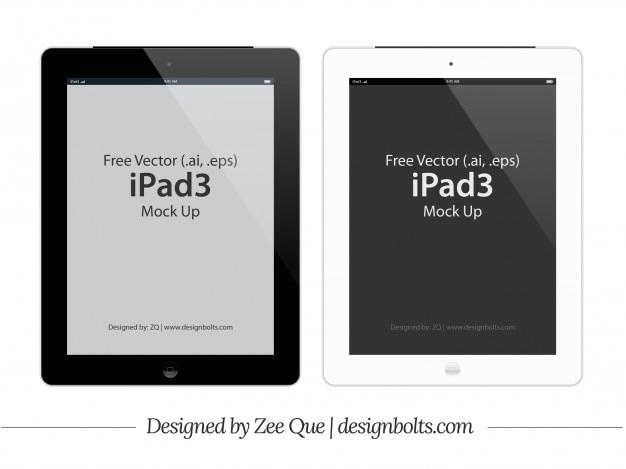 アプリ3タブレットのモックアップテンプレート 無料ベクター