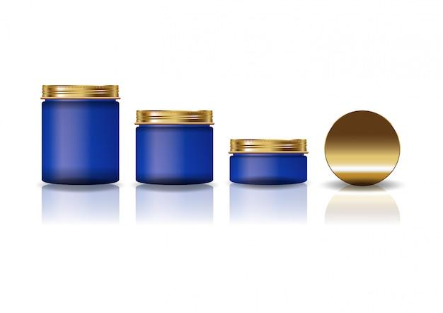 Набор из 3 размеров синей косметической круглой банки с золотой крышкой для красоты или здорового продукта. Premium векторы