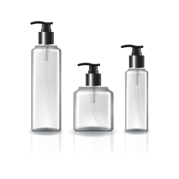 美容、健康的な製品のためのポンプヘッドと黒いリングが付いている3つのサイズの正方形の化粧品ボトル。 Premiumベクター