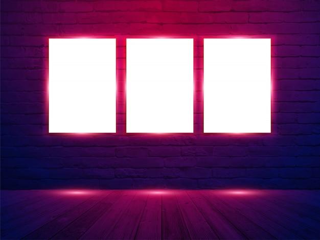 レンガの壁の部屋の背景にベクトル3ポスターモックアップ Premiumベクター