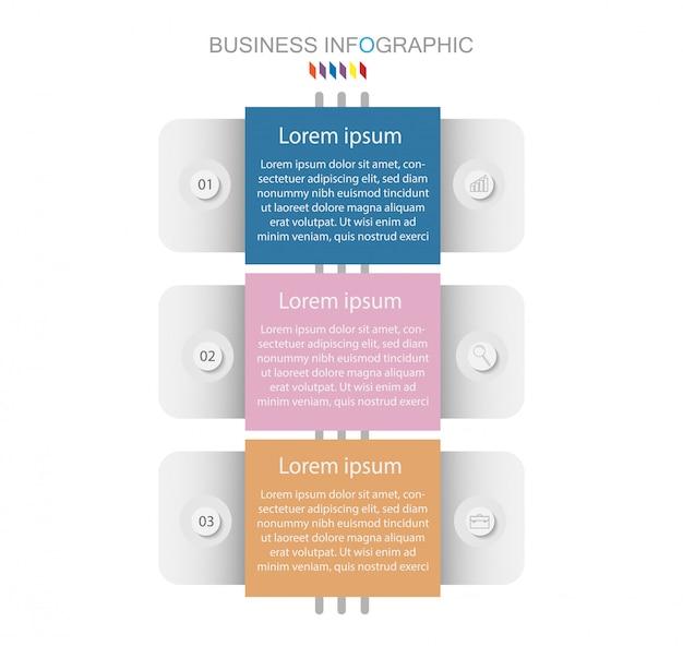 Хронология инфографики элемент дизайна и число вариантов. бизнес-концепция с 3 шагами Premium векторы