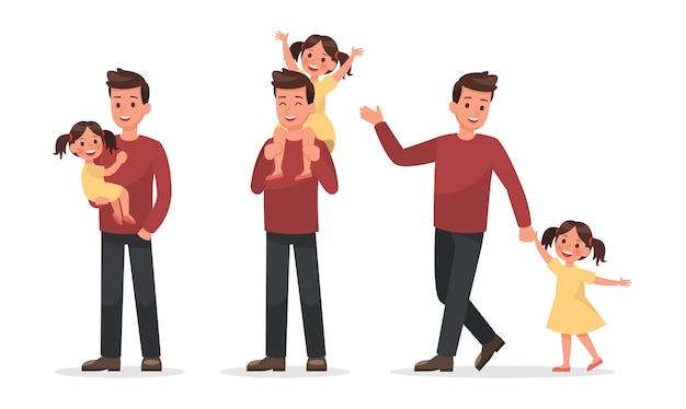 Семейный набор персонажей 3 Premium векторы