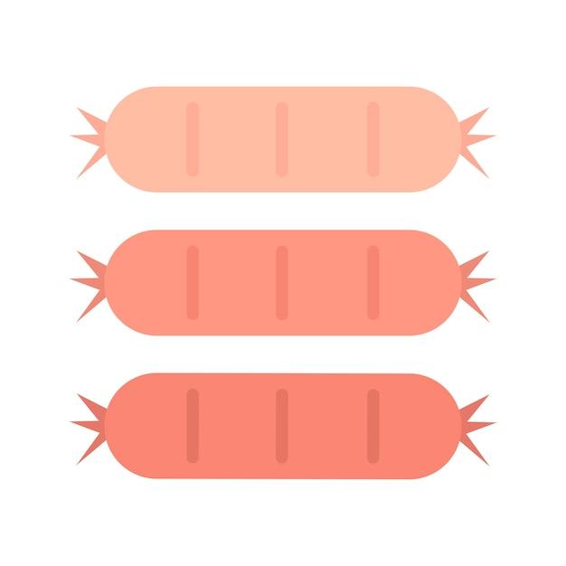 3つのおいしいソーセージのグラフィックイラスト ベクター画像 無料