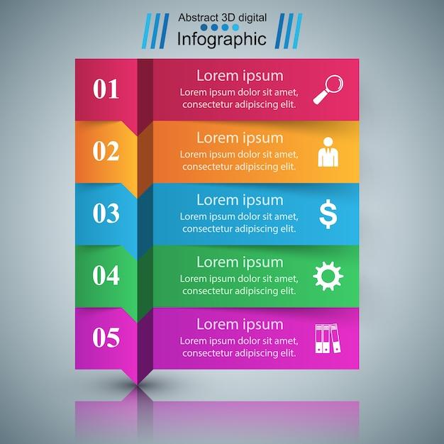 3-й инфографический шаблон дизайна и маркетинговые символы. Premium векторы