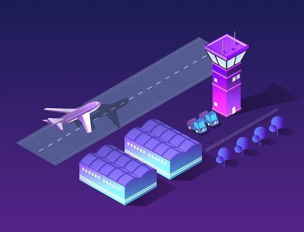 将来の3次元等尺性空港 Premiumベクター