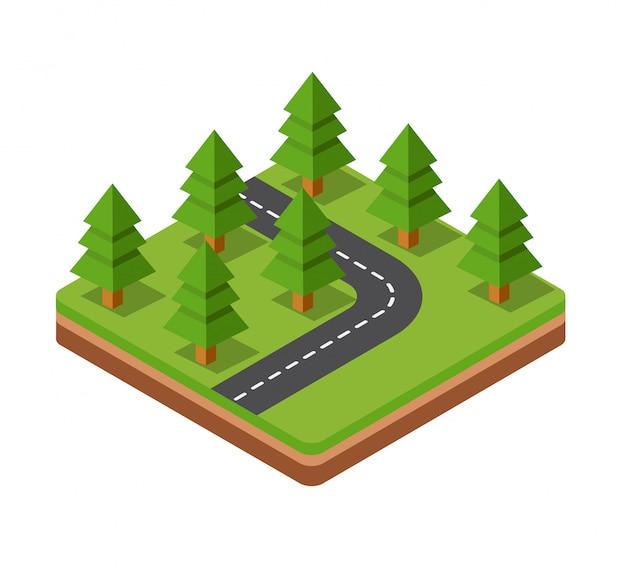 道路の3次元空間上の等尺性樹木 Premiumベクター