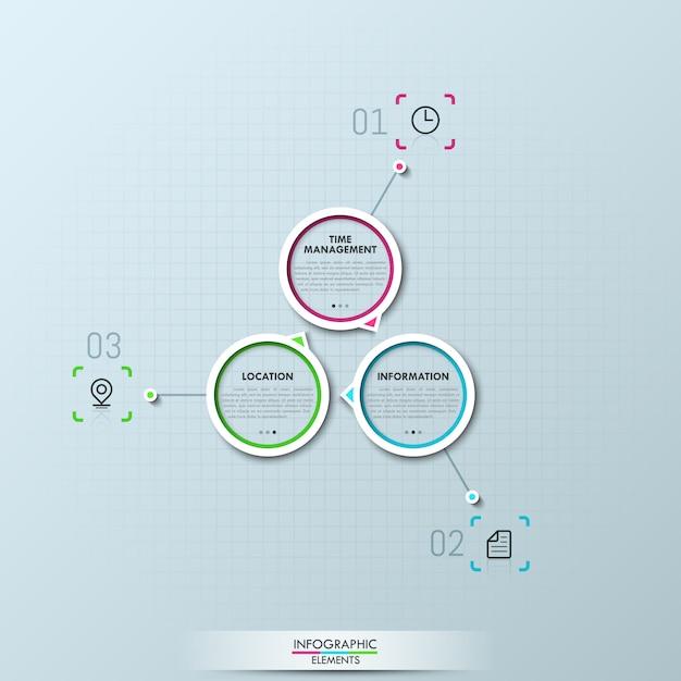 3つの円形の要素を持つモダンなインフォグラフィック Premiumベクター